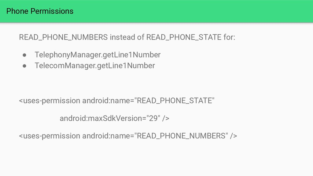 Phone Permissions READ_PHONE_NUMBERS instead of...