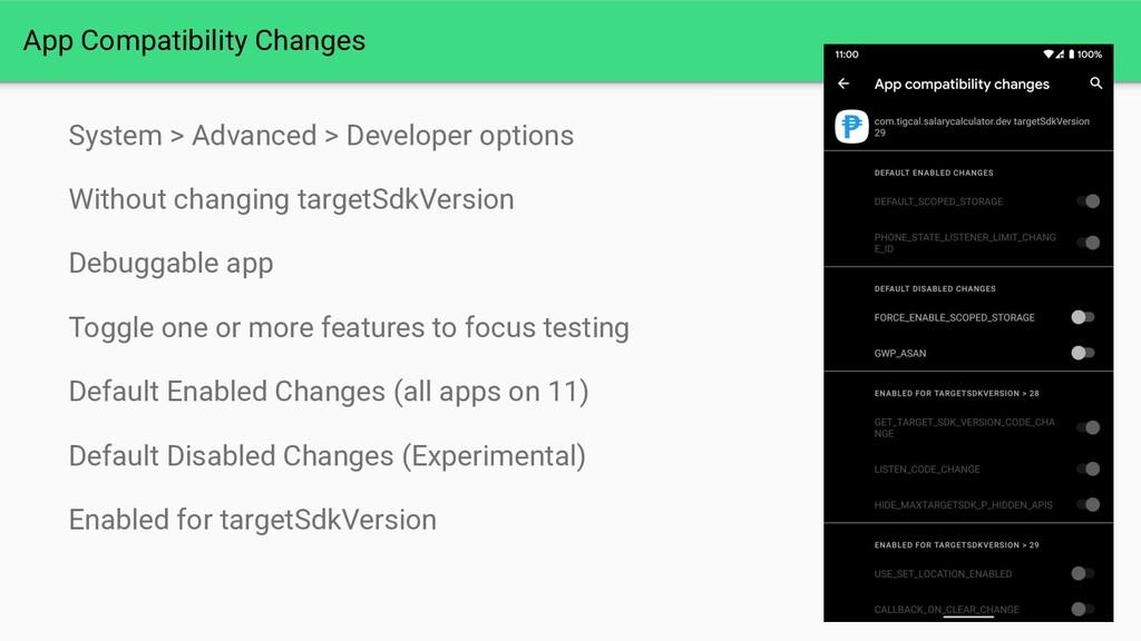 Link App Compatibility Changes System > Advance...