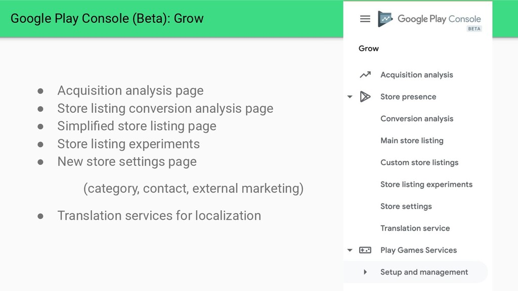 Google Play Console (Beta): Grow ● Acquisition ...