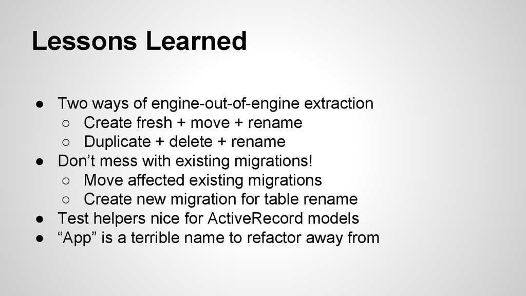 Lessons Learned ● Two ways of engine-out-of-eng...