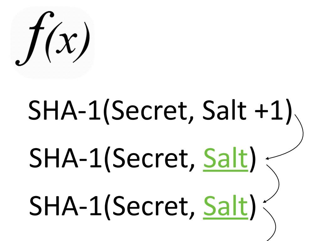SHA-‐1(Secret, Salt +1) SHA-‐1(Secret, Sal...