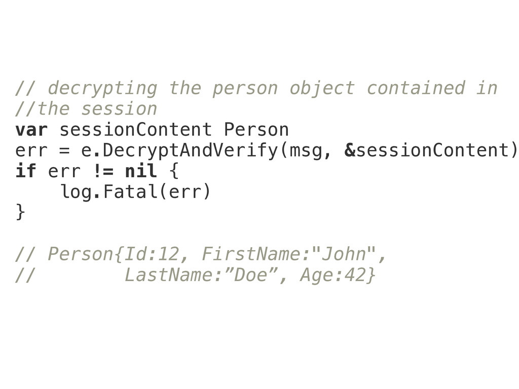 // decrypting the person object contained in //...