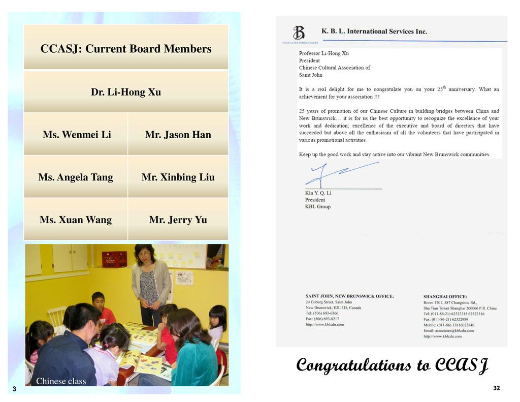 3 32 Congratulations to CCASJ CCASJ: Current Bo...