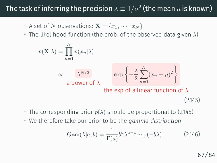 The task of inferring the precision λ ≡ 1/σ2 (t...