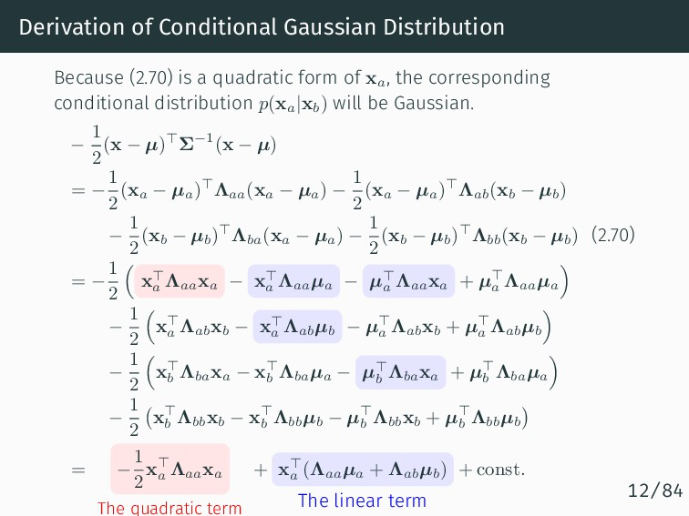 Derivation of Conditional Gaussian Distribution...