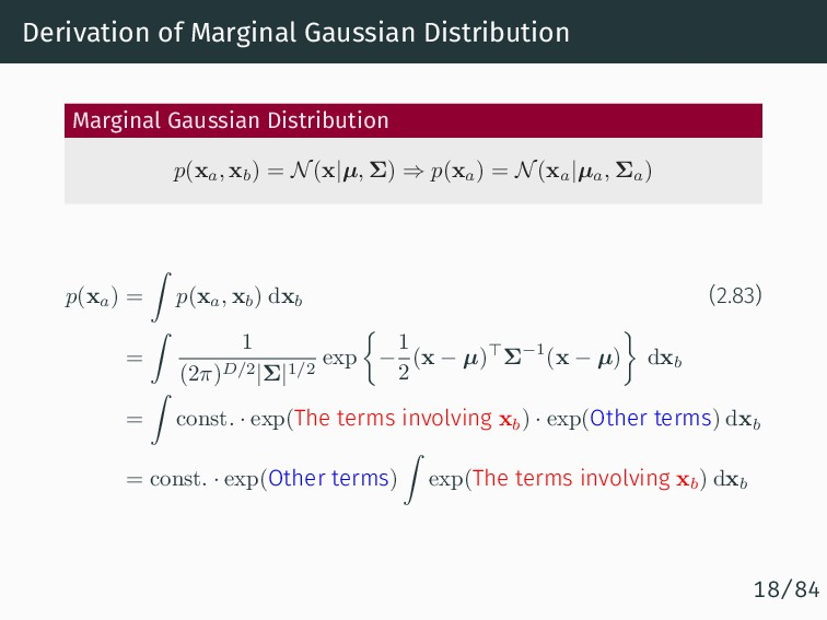 Derivation of Marginal Gaussian Distribution Ma...