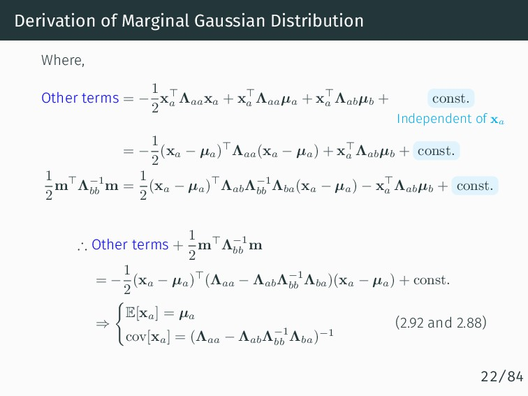 Derivation of Marginal Gaussian Distribution Wh...