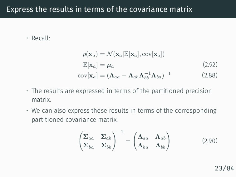 Express the results in terms of the covariance ...