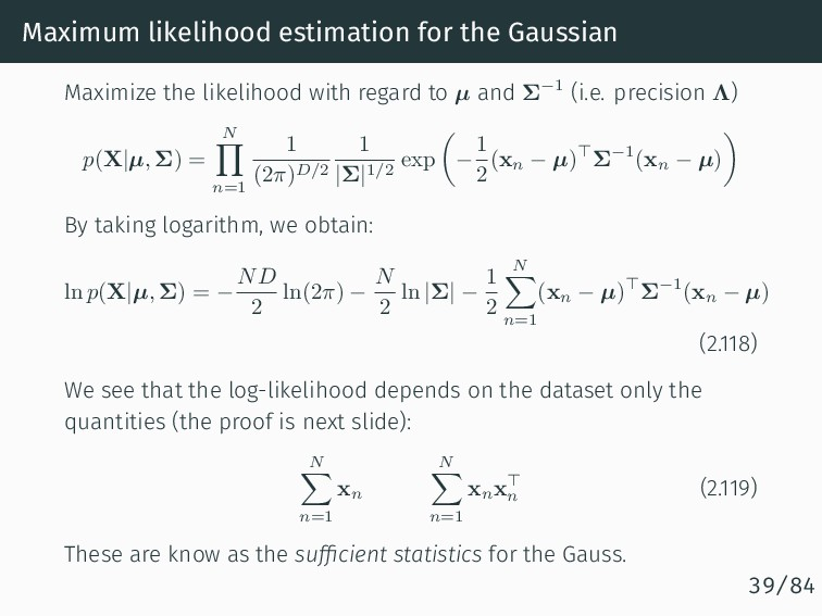 Maximum likelihood estimation for the Gaussian ...