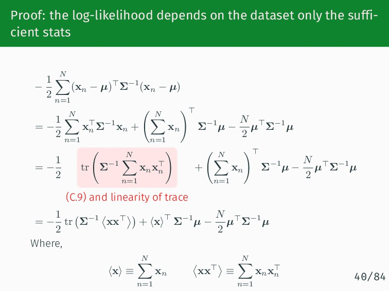 Proof: the log-likelihood depends on the datase...