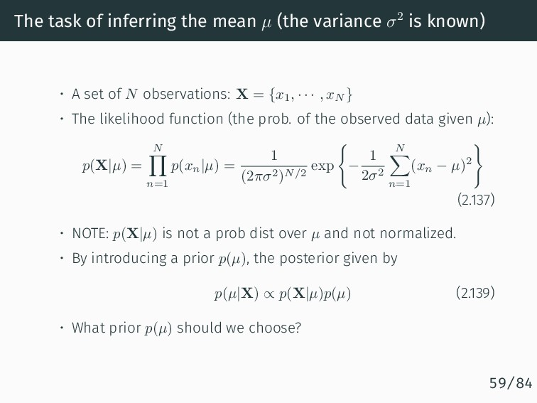 The task of inferring the mean µ (the variance ...