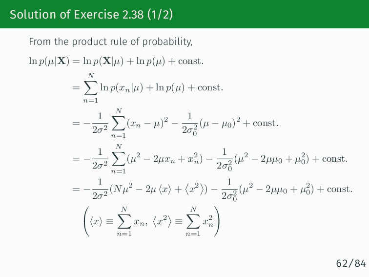 Solution of Exercise 2.38 (1/2) From the produc...