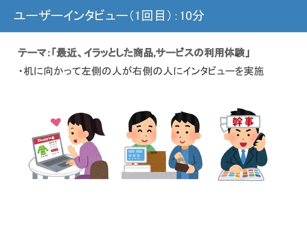 ユーザーインタビュー(1回目):10分 テーマ:「最近、イラッとした商品,サービスの利用体験...