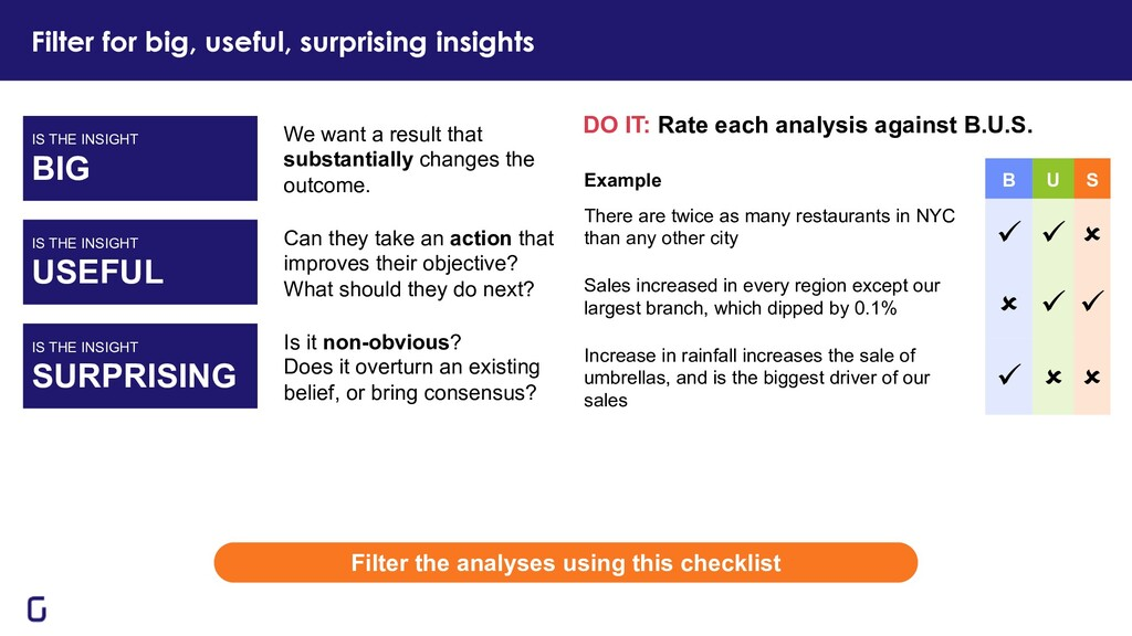 Filter for big, useful, surprising insights DO ...