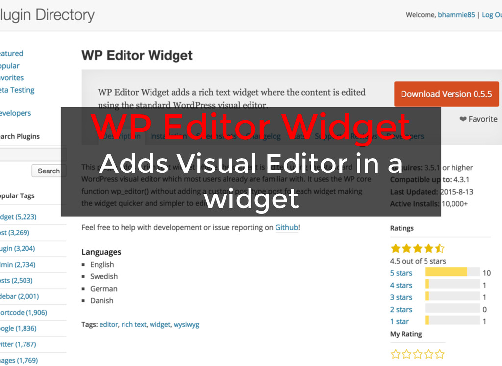 WP Editor Widget WP Editor Widget Adds Visual E...