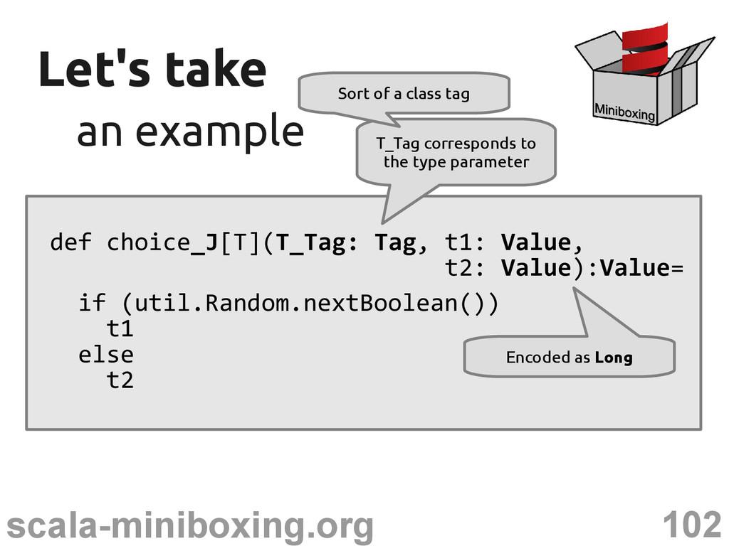 102 scala-miniboxing.org Let's take Let's take ...