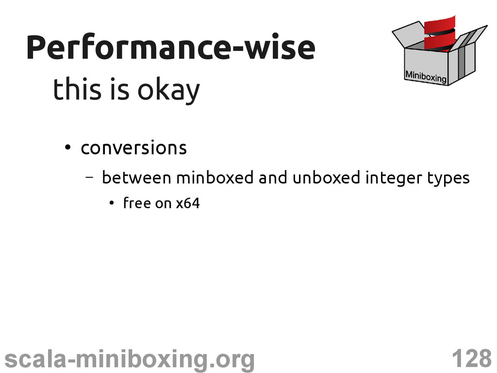 128 scala-miniboxing.org Performance-wise Perfo...