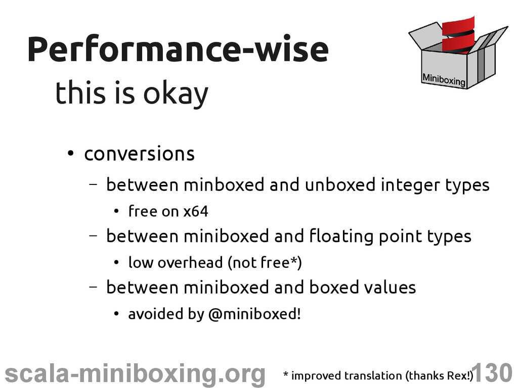 130 scala-miniboxing.org Performance-wise Perfo...