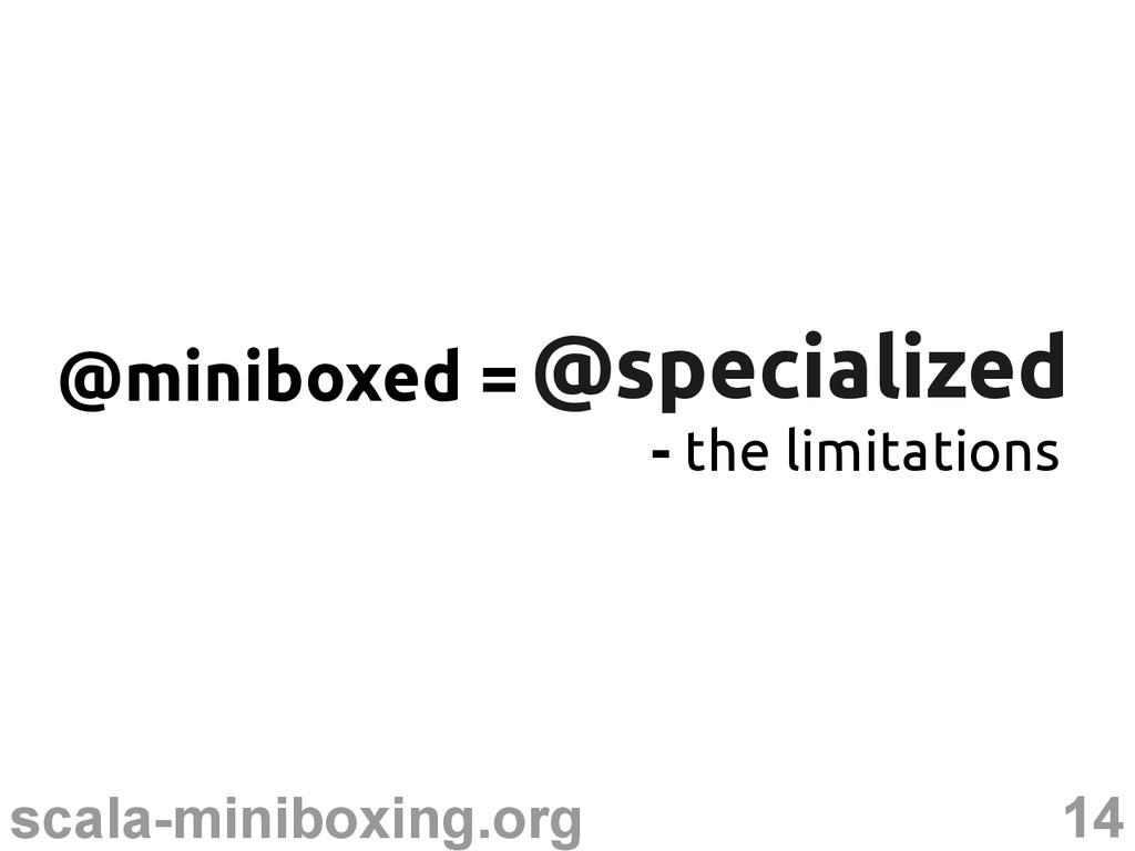 14 scala-miniboxing.org @specialized @specializ...