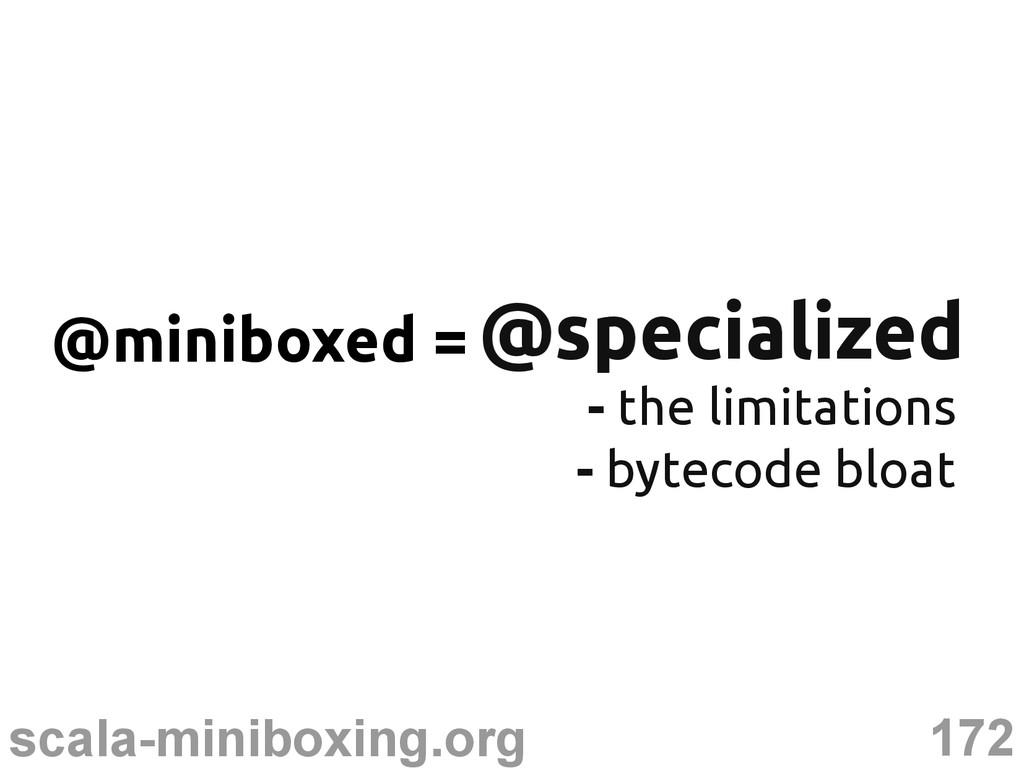 172 scala-miniboxing.org @specialized @speciali...