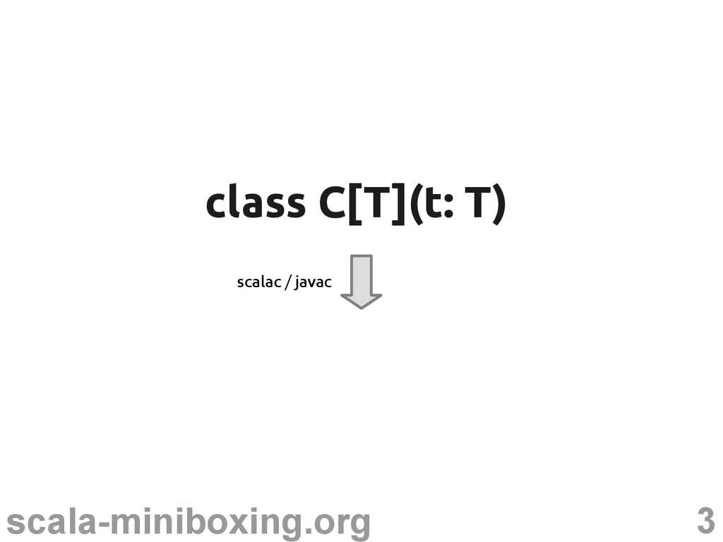 3 scala-miniboxing.org class C[T](t: T) class C...