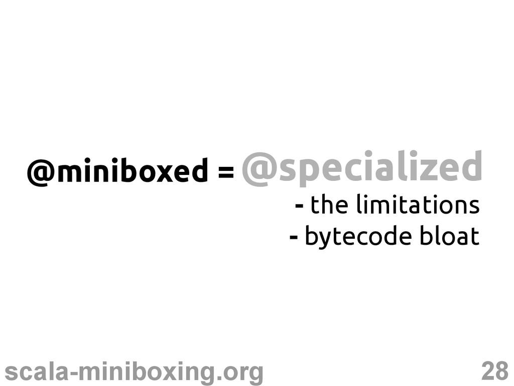 28 scala-miniboxing.org @specialized @specializ...