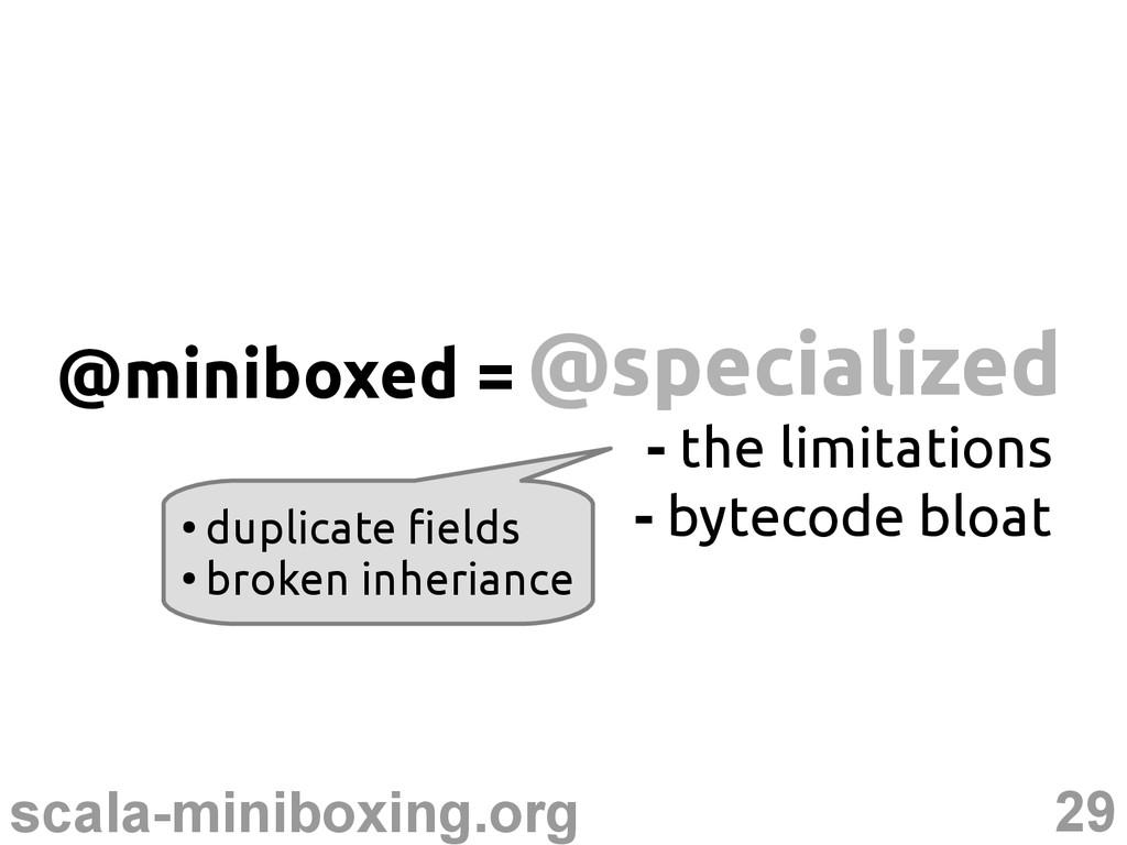 29 scala-miniboxing.org @specialized @specializ...