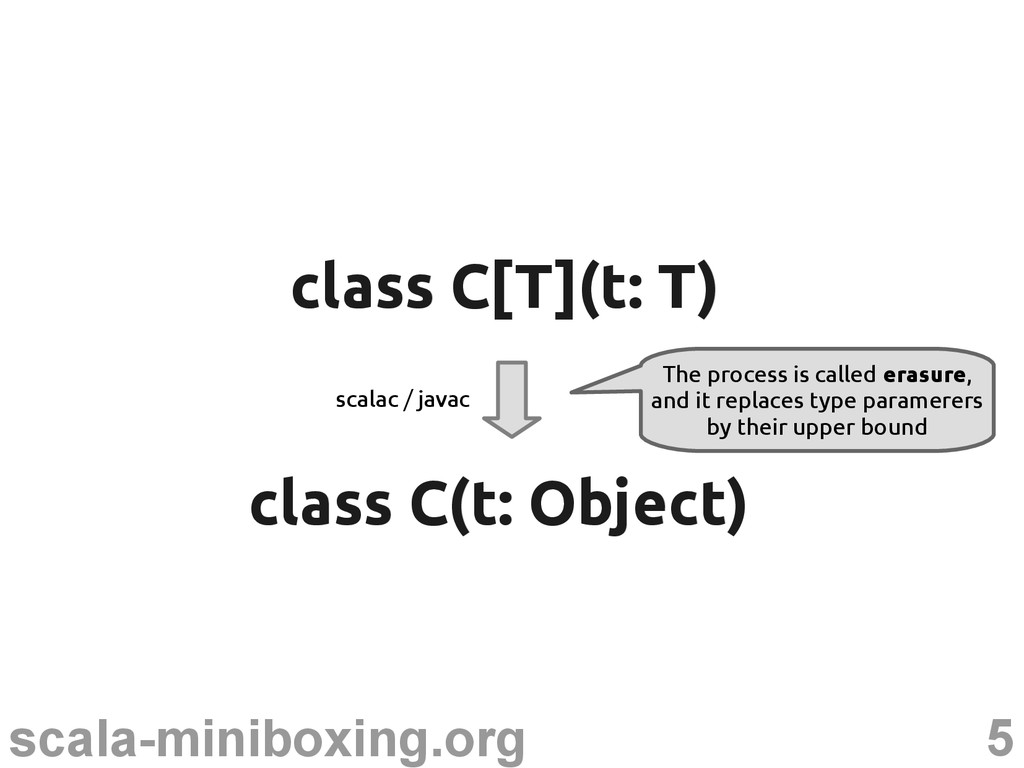 5 scala-miniboxing.org class C(t: Object) class...