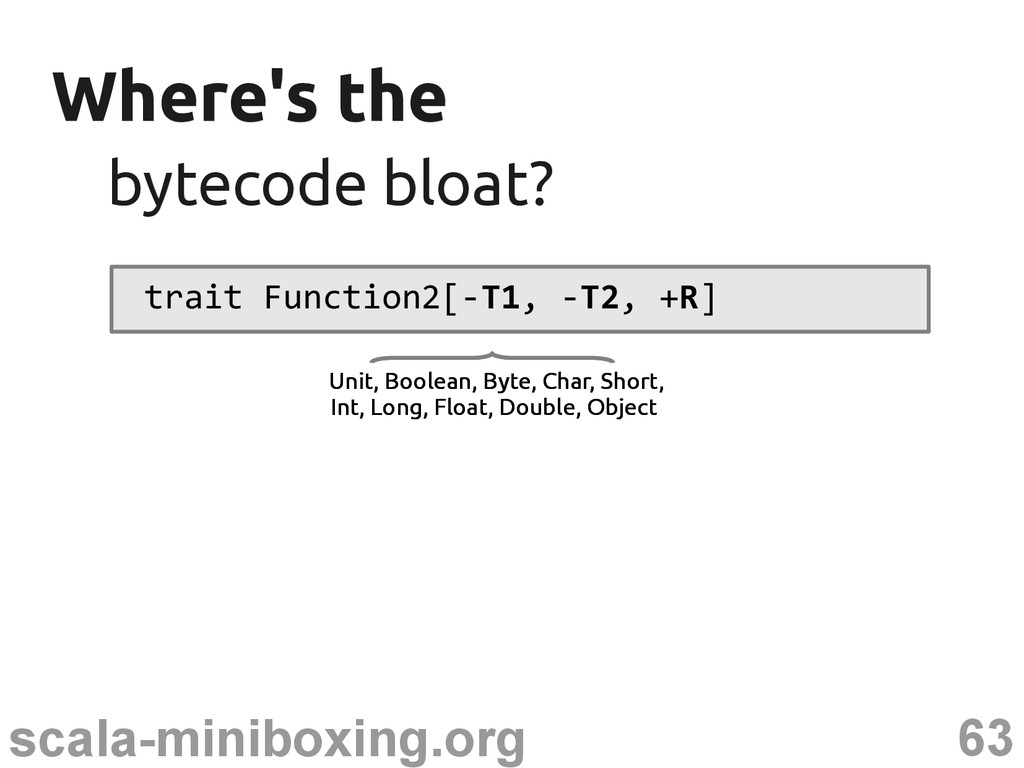 63 scala-miniboxing.org Where's the Where's the...