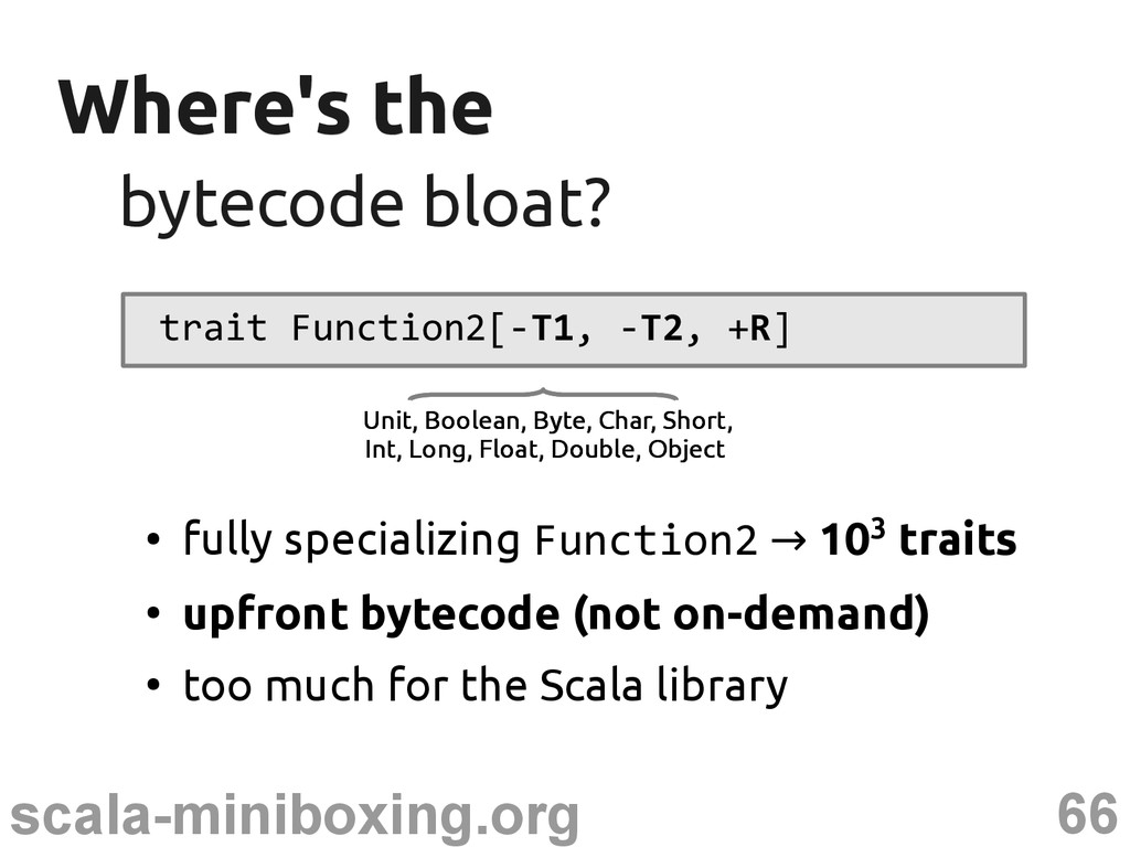 66 scala-miniboxing.org Where's the Where's the...