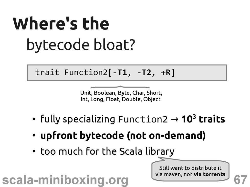 67 scala-miniboxing.org Where's the Where's the...