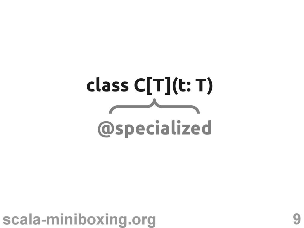 9 scala-miniboxing.org class C[T](t: T) class C...