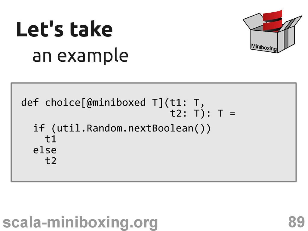 89 scala-miniboxing.org Let's take Let's take a...