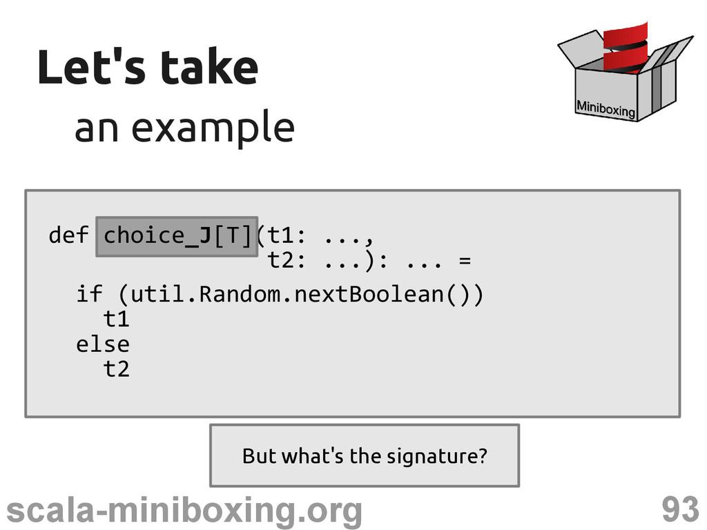 93 scala-miniboxing.org Let's take Let's take a...