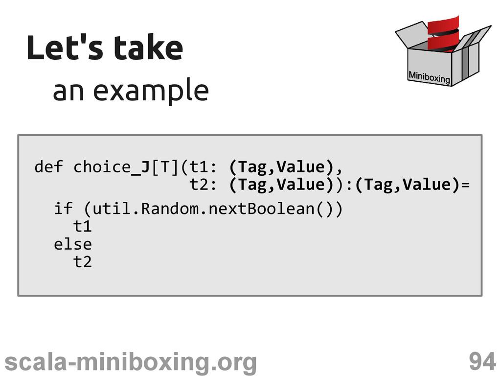 94 scala-miniboxing.org Let's take Let's take a...