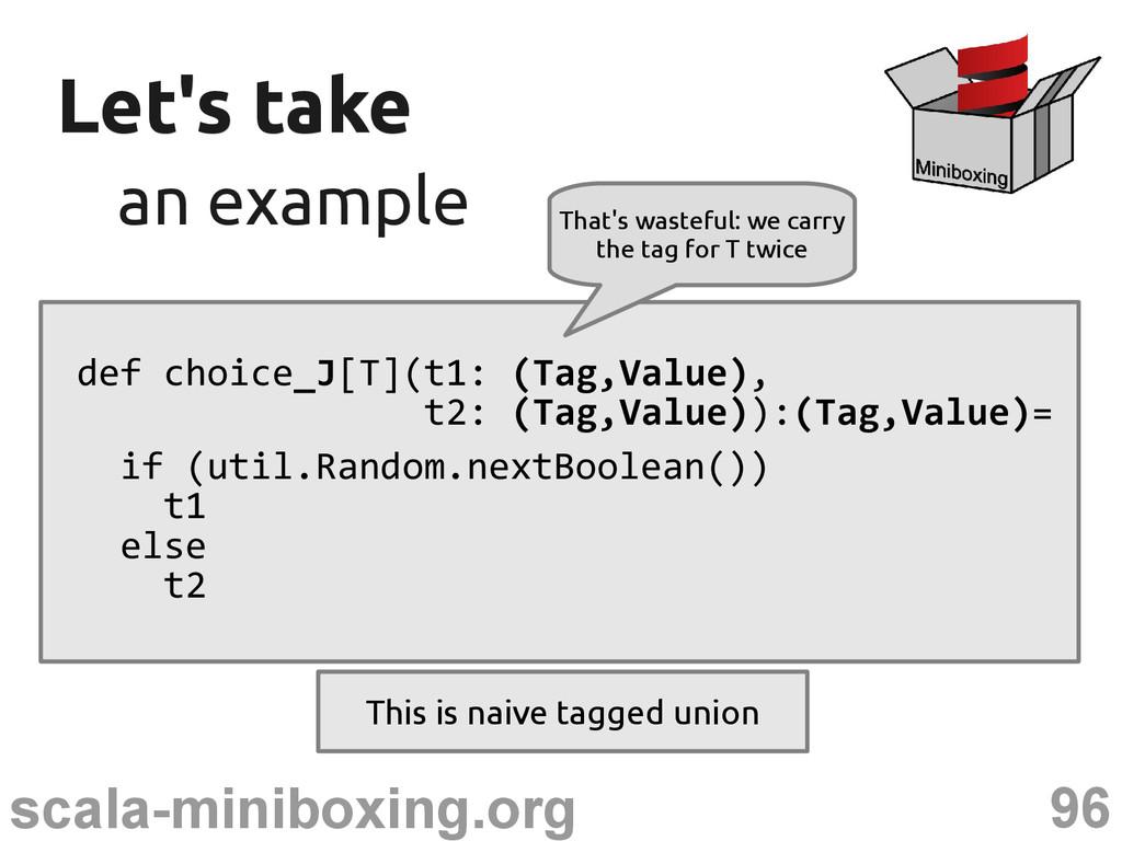 96 scala-miniboxing.org Let's take Let's take a...