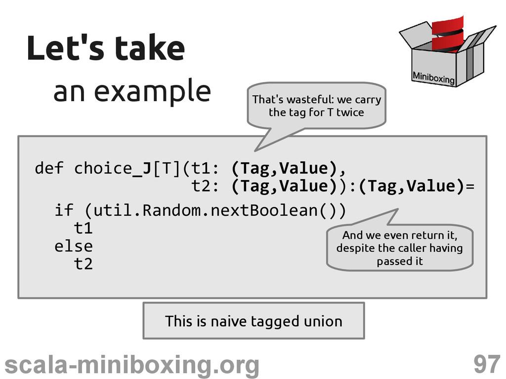 97 scala-miniboxing.org Let's take Let's take a...