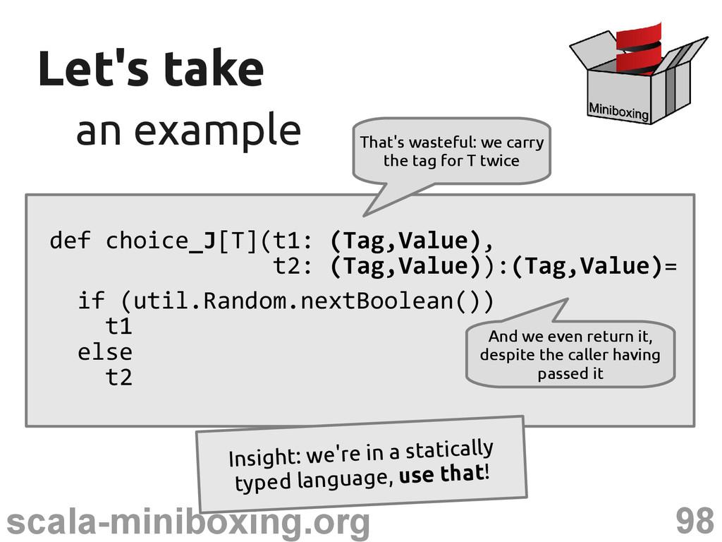 98 scala-miniboxing.org Let's take Let's take a...