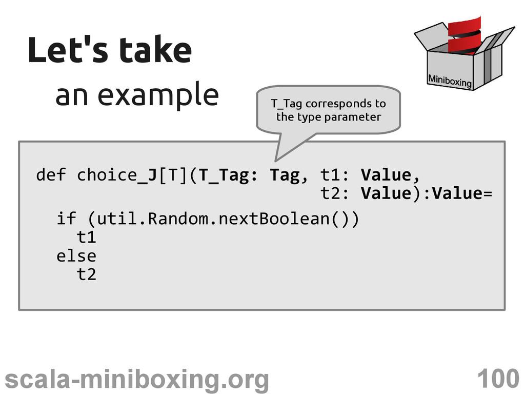 100 scala-miniboxing.org Let's take Let's take ...