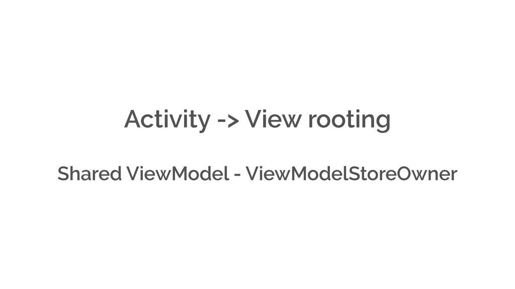 Activity -> View rooting Shared ViewModel - Vie...