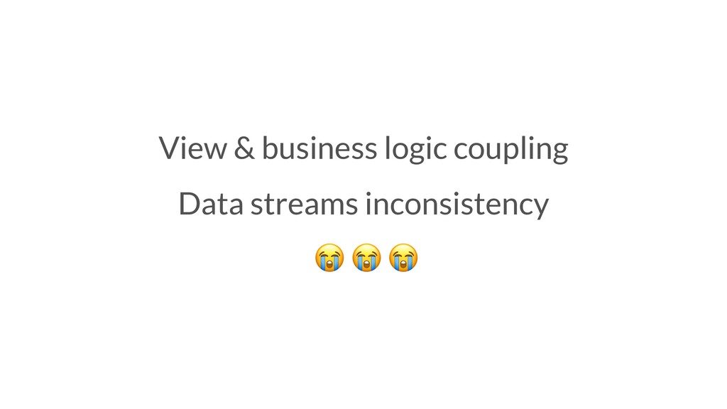 View & business logic coupling Data streams inc...