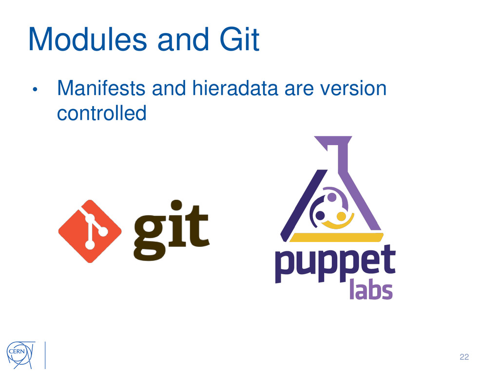 Modules and Git • Manifests and hieradata are v...