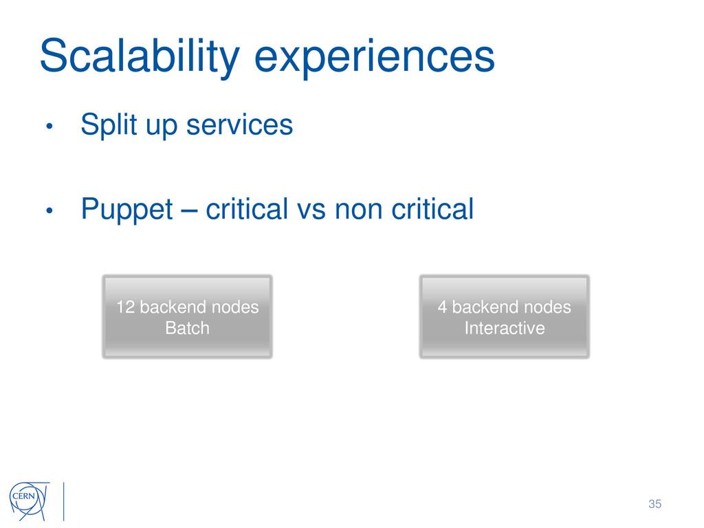 Scalability experiences • Split up services • P...