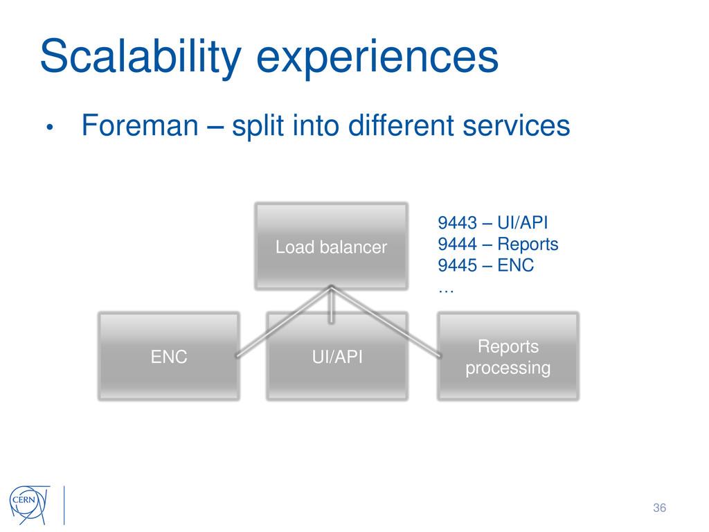 Scalability experiences • Foreman – split into ...