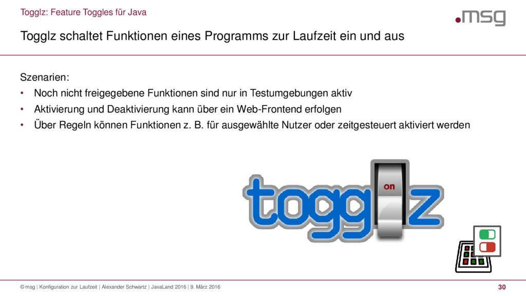 Togglz: Feature Toggles für Java Togglz schalte...