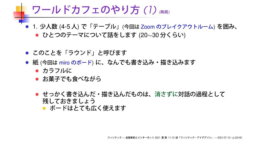 (1) ( ) 1. (4-5 ) ( Zoom ) (20∼30 ) ( miro ) — ...