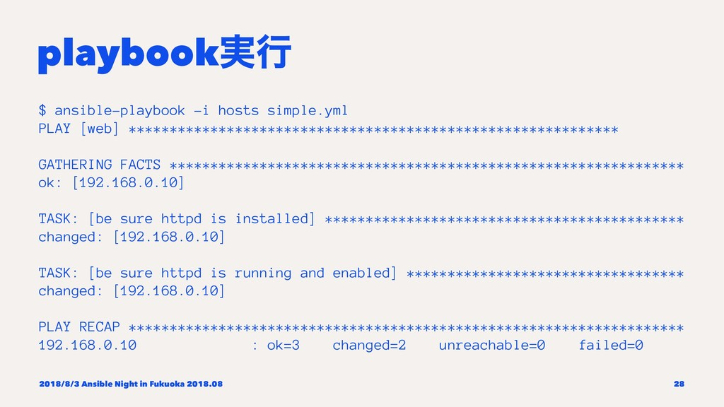playbook࣮ߦ $ ansible-playbook -i hosts simple.y...
