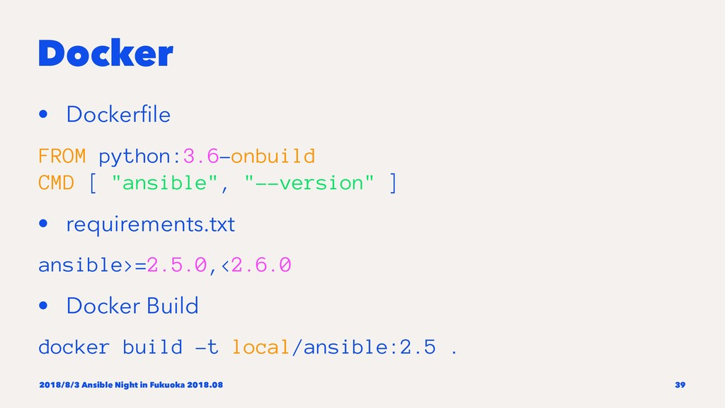 Docker • Dockerfile FROM python:3.6-onbuild CMD ...
