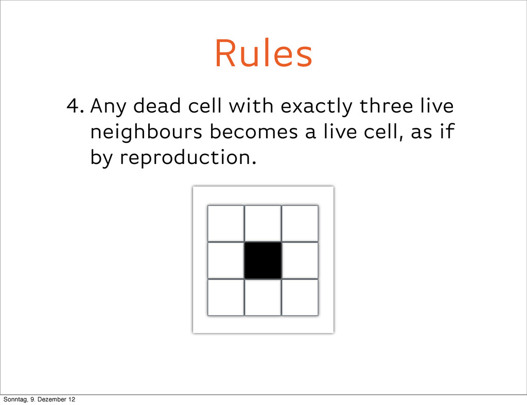 4. Any dead cell with exactly three live neighb...
