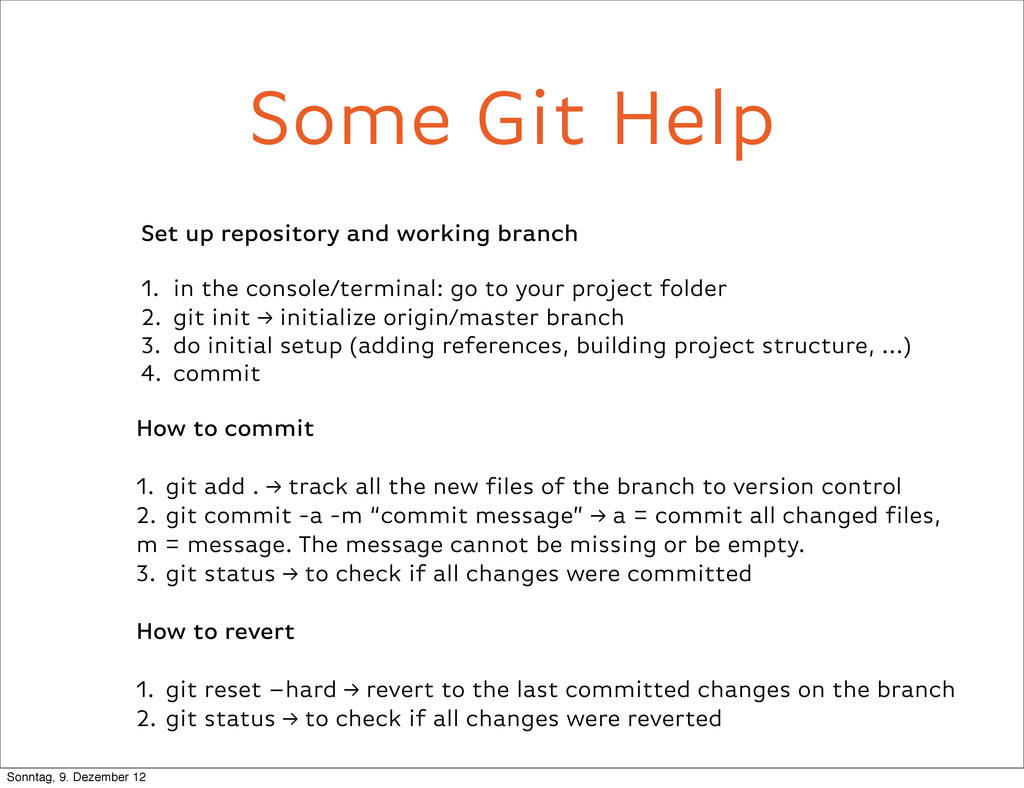 Some Git Help Set up repository and working bra...